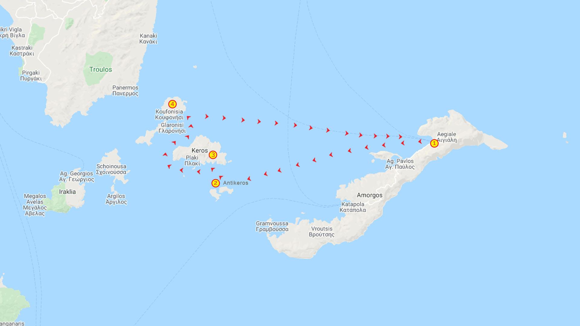 Day Cruise Antikeros Keros & Koufonissi Map