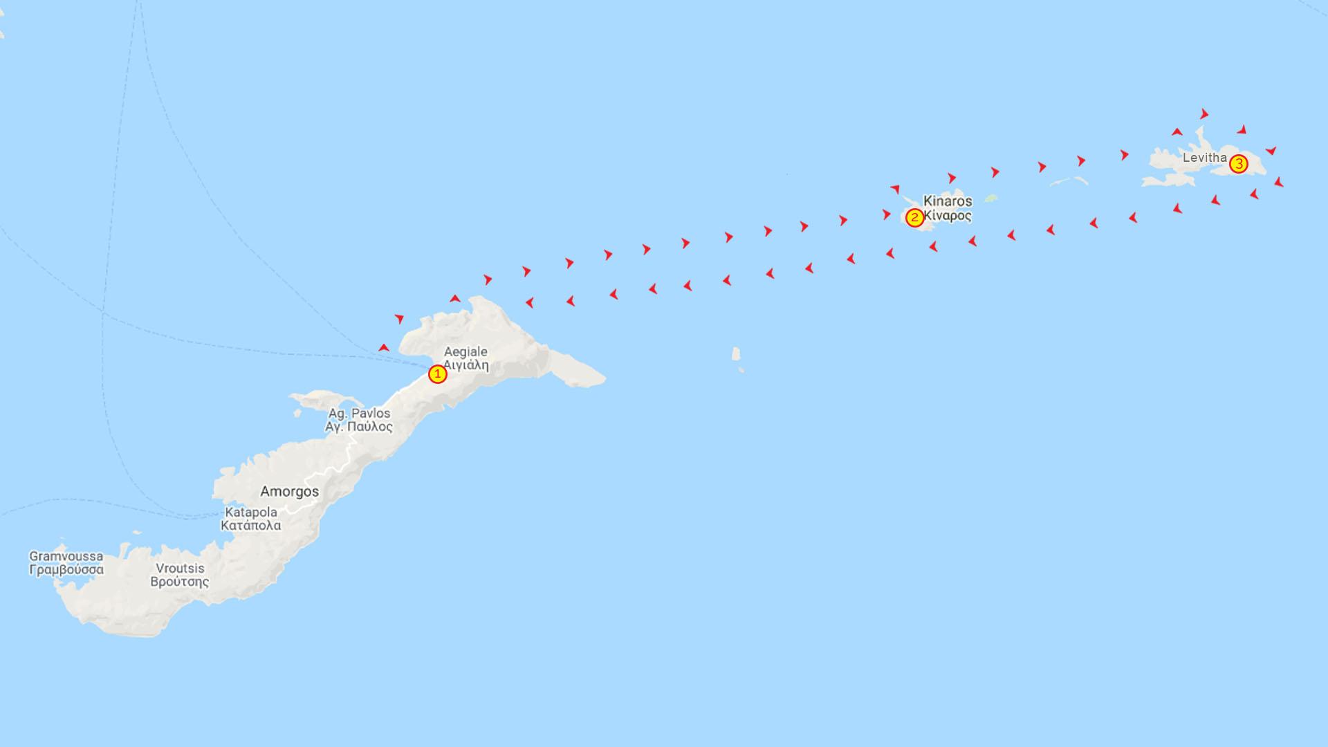 Day Cruise Kinaros & Levitha Map