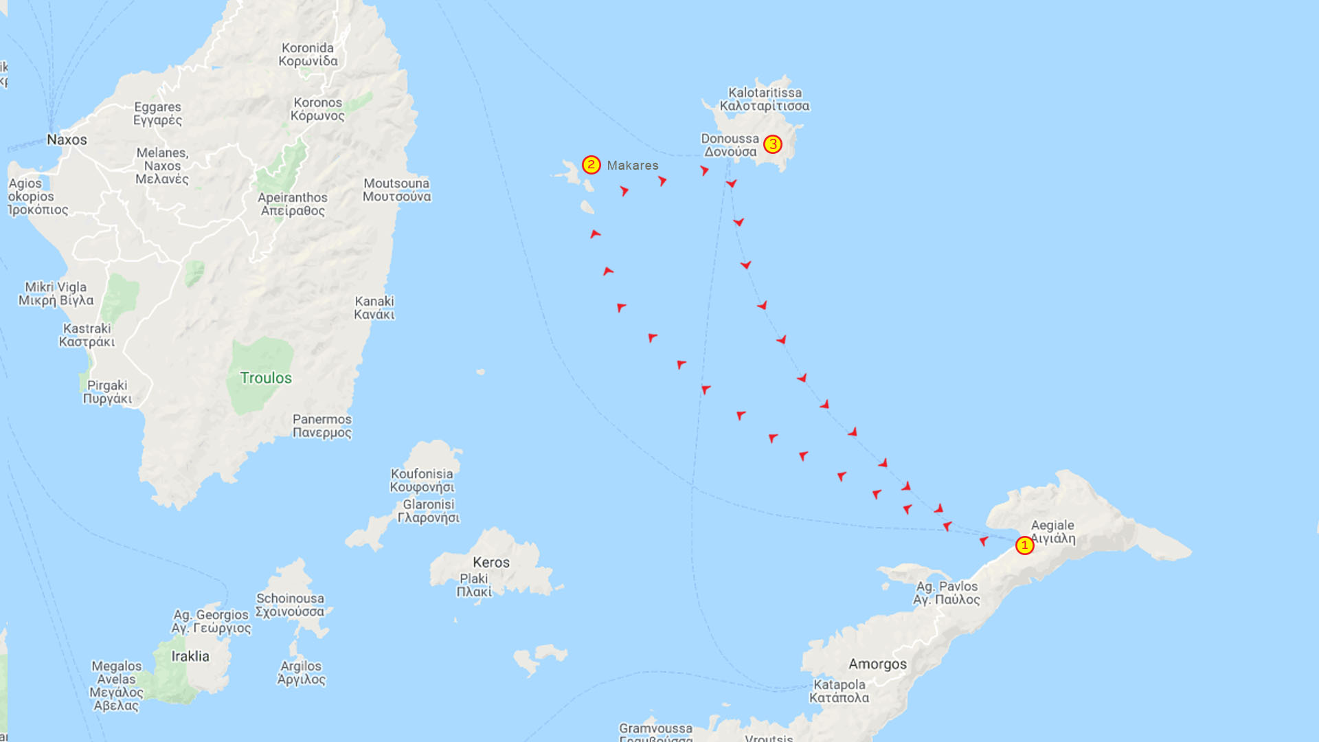 Day Cruise Makares & Dounosa Map